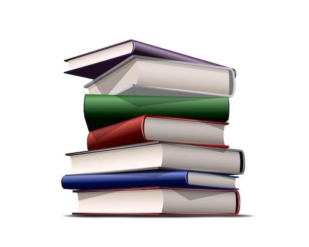 Pila di libri colorati isolati su bianco