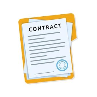 Pila di documenti con firma e sigillo.