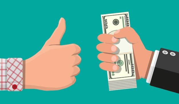 Pila di banconote in dollari in mano e pollice in su. concetto di risparmio, donazione, pagamento. simbolo di ricchezza. illustrazione vettoriale in stile piatto