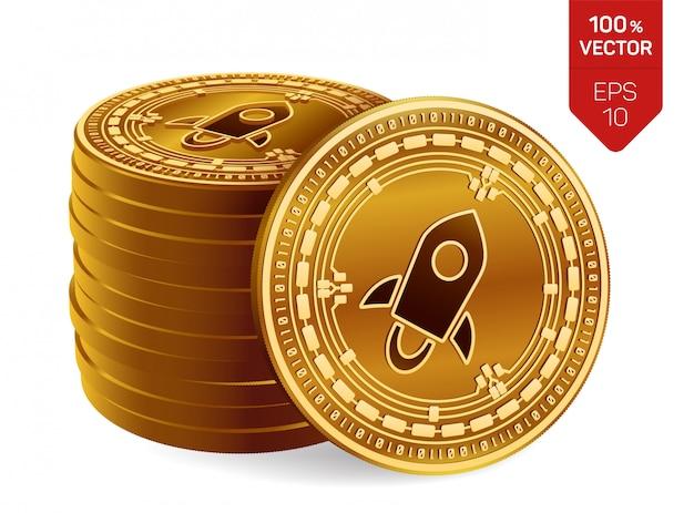 Pila di monete dorate con il simbolo stellare isolato su fondo bianco. criptovaluta.