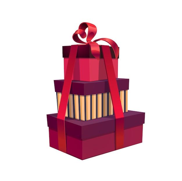 Pila di regali di festa, pile di scatole quadrate di vettore