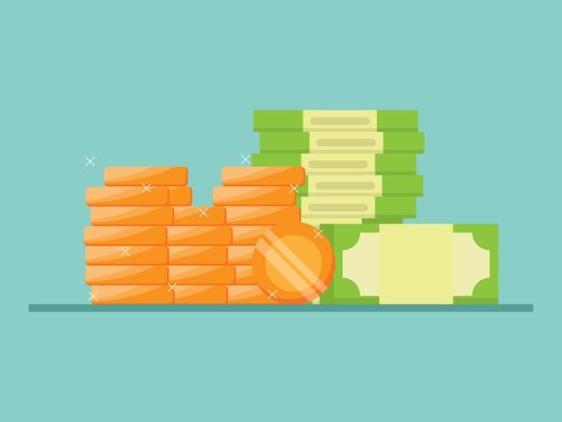 Pila di denaro illustrazione piatta