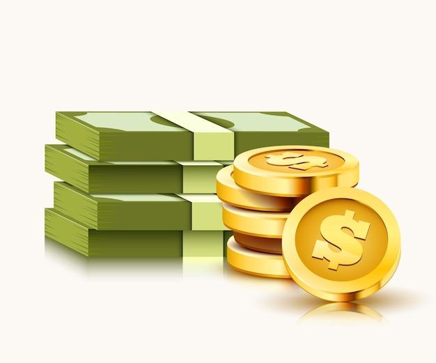 Pila di dollari di carta e monete d'oro isolati su bianco.