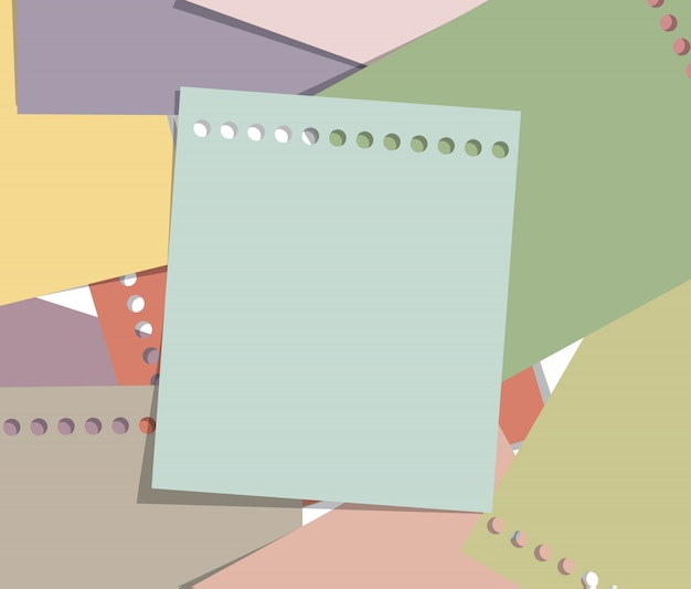 Impilare lo stile vintage nota carta, pagina memo