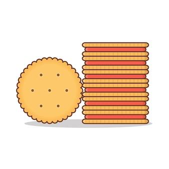 Pila di biscotti biscotto rotondi isolati su bianco