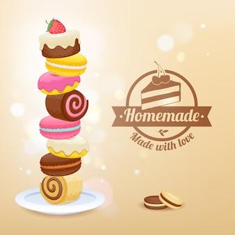 Pila di dolci sul piatto illustrazione vettoriale.