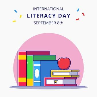 Impilamento di libri e apple cartoon illustrazione celebrazioni della giornata internazionale dell'alfabetizzazione.