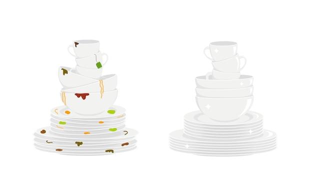Pile di piatti sporchi e puliti piatti, ciotole e tazze prima e dopo il lavaggio