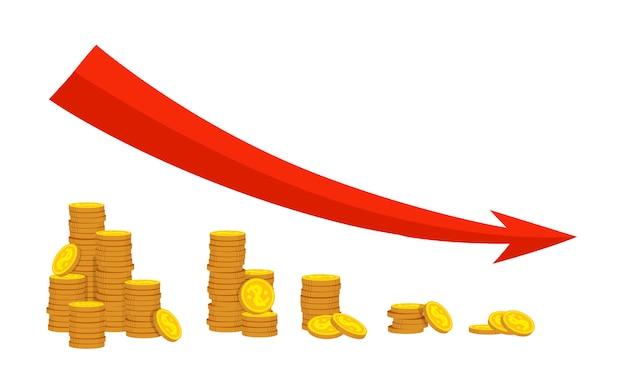 Pile insieme del fumetto della moneta d'oro. freccia rossa di programma finanziario di caduta del grafico. riduci la crescita, diminuisci il grafico