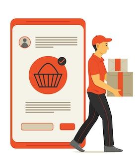 Uomo del personale consegna la scatola del pacco da acquisti online sul telefono cellulare