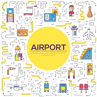 Personale che lavora e registra persone e bagagli nella progettazione dell'aeroporto