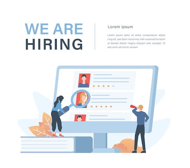 Concetto di affari di personale e reclutamento con illustrazione di reclutatori aziendali che scelgono candidati dipendenti