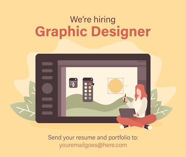 Assunzione di personale e concetto di reclutamento con donna e illustrazione tablet da disegno