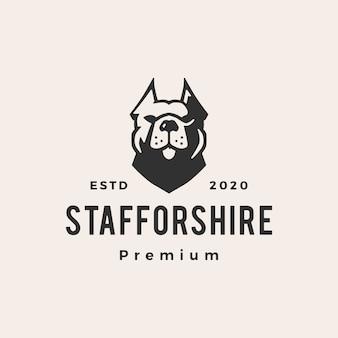 Illustrazione d'annata dell'icona di logo dei pantaloni a vita bassa del cane di staffordshire terrier