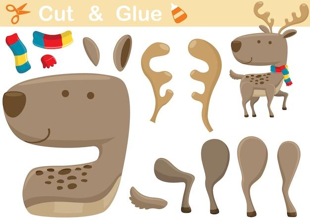 Sciarpa da portare di cervo. gioco di carta educativo per bambini. ritaglio e incollaggio. illustrazione dei cartoni animati