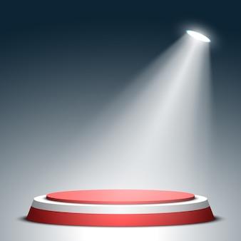 Palco per la cerimonia di premiazione. podio rotondo rosso e bianco e riflettore. piedistallo. .