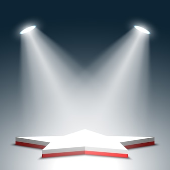 Palco per la cerimonia di premiazione. stella. podio rosso e bianco. piedistallo. scena. riflettore. .