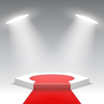Palco per la cerimonia di premiazione. podio bianco con tappeto rosso. piedistallo. scena esagonale. .