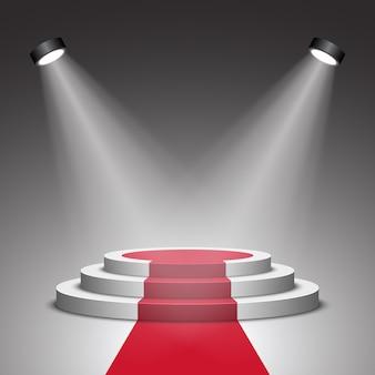 Palco per la cerimonia di premiazione. podio bianco con tappeto rosso. piedistallo. scena. riflettore. .