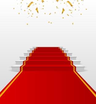 Palco per la cerimonia di premiazione. podio bianco con tappeto rosso. piedistallo. illustrazione vettoriale.
