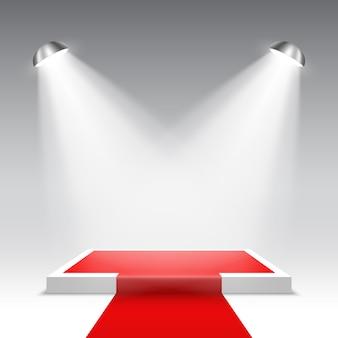 Palco per la cerimonia di premiazione. podio quadrato bianco con tappeto rosso. piedistallo. .