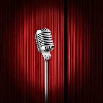 Tende da palco con brillante illustrazione del microfono. concetto di spettacolo comico in piedi