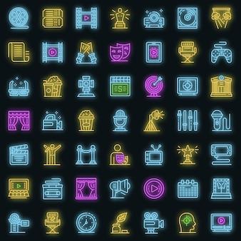 Set di icone del regista di scena. delineare l'insieme delle icone vettoriali del regista di scena colore neon su nero