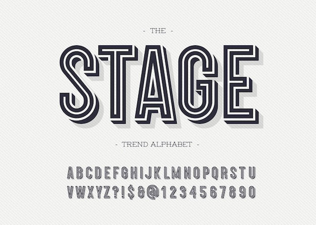Stage font modern typography sans serif 3d bold style for book