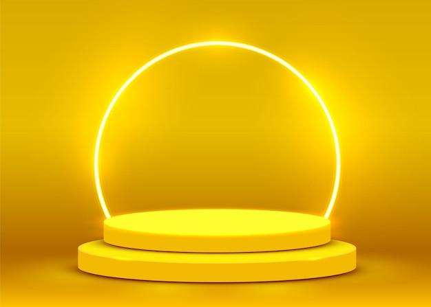 Scena del podio per la cerimonia di premiazione illuminata con riflettori. concetto di cerimonia di premiazione. sfondo del palco. illustrazione vettoriale