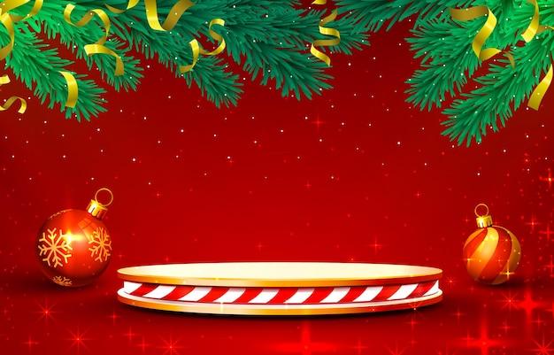 Podio del palco sul rosso lucido con decorazioni natalizie