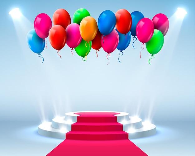 Podio del palco con illuminazione e palloncini, scena del podio del palco con cerimonia di premiazione su sfondo blu, illustrazione vettoriale