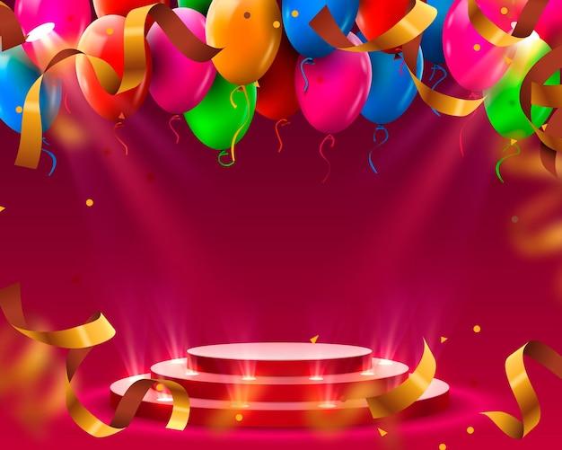 Podio del palco con illuminazione e palloncini, scena del podio del palco con cerimonia di premiazione su sfondo rosso, illustrazione vettoriale