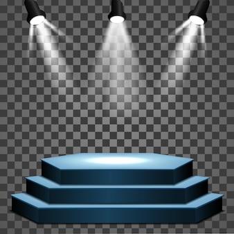 Podio della fase con il percorso di residuo della potatura meccanica della scena del podio della fase di illuminazione