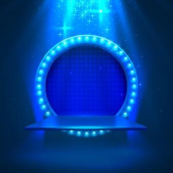 Podio del palco con illuminazione, scena del podio del palco con cerimonia di premiazione su sfondo blu, illustrazione vettoriale