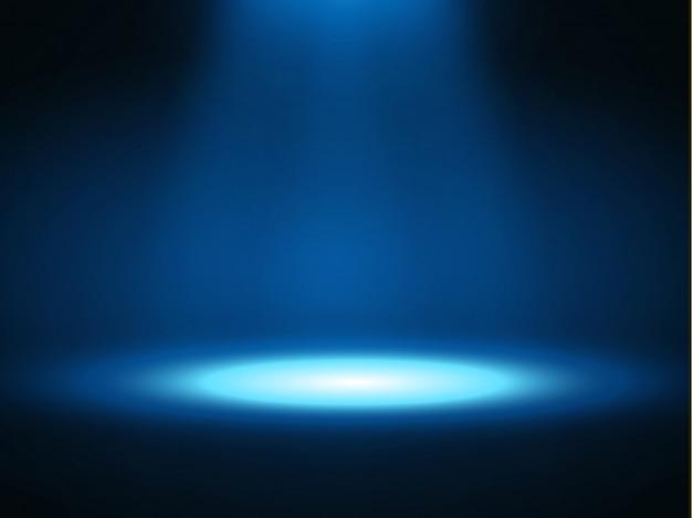 Podio sul palco con illuminazione, scena sul podio sul palco con cerimonia di premiazione su sfondo blu,