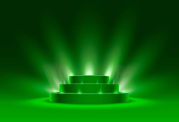 Podio del palco con illuminazione, scena del podio del palco con cerimonia di premiazione su sfondo verde, illustrazione vettoriale