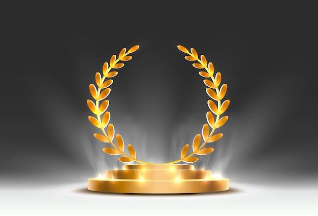 Podio sul palco con illuminazione, scena sul podio sul palco con cerimonia di premiazione su sfondo arancione