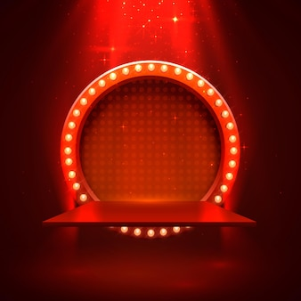 Podio del palco con illuminazione, scena del podio del palco con cerimonia di premiazione su sfondo rosso, illustrazione vettoriale