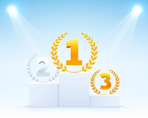Podio del palco con illuminazione, scena del podio del palco con cerimonia di premiazione su sfondo bianco, illustrazione vettoriale