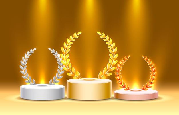 Podio del palco con illuminazione, scena del podio del palco con cerimonia di premiazione su sfondo giallo