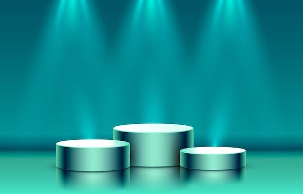 Podio sul palco con scena di podio sul palco di illuminazione con il vettore di sfondo dell'elemento decorativo del premio