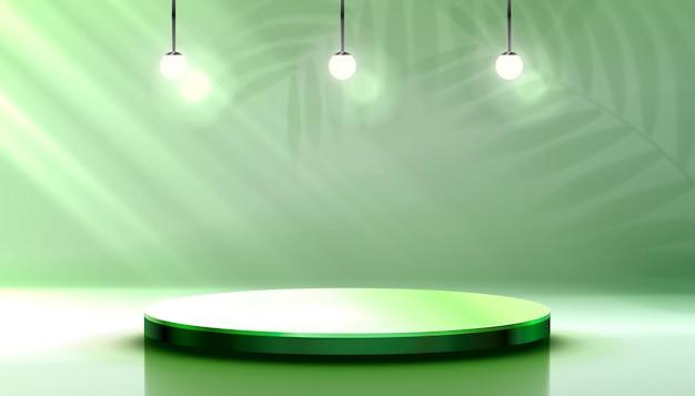 Podio sul palco con scena di podio sul palco di illuminazione con sfondo per l'elemento decorativo del premio