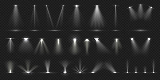 Riflettori sul palco. mostra la collezione di effetti luminosi sul palco