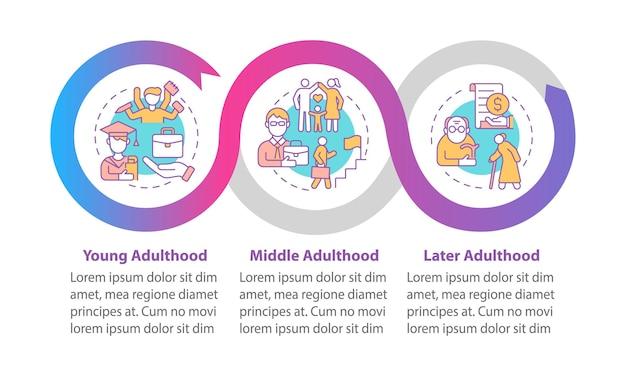 Fasi del modello di infografica vettoriale di età adulta. elementi di progettazione del profilo di presentazione del ciclo di vita. visualizzazione dei dati con 3 passaggi. grafico delle informazioni sulla sequenza temporale del processo. layout del flusso di lavoro con icone di linea