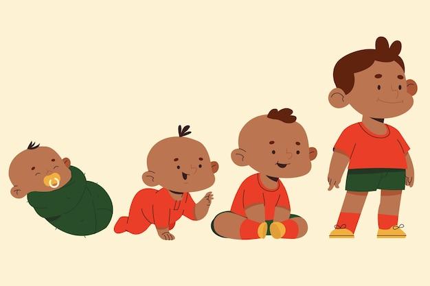 Fasi di un'illustrazione di un neonato