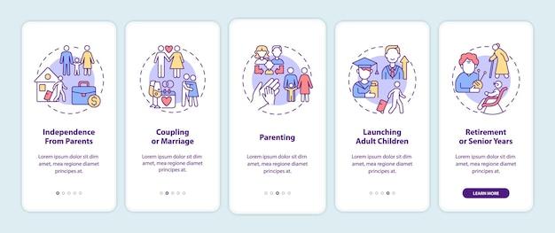 Schermata della pagina dell'app mobile di onboarding delle fasi del ciclo di vita familiare. guida alla genitorialità 5 passaggi istruzioni grafiche con concetti. modello vettoriale ui, ux, gui con illustrazioni a colori lineari