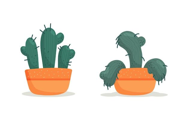 Fasi di appassimento, un cactus appassito in un vaso, pianta abbandonata senza annaffiature e cure. morire succulento. illustrazione vettoriale, stile piatto organico disegnato a mano.