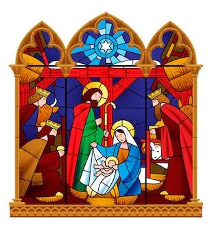 Finestra di vetro macchiata che descrive la scena di natale nel telaio gotico isolato su bianco