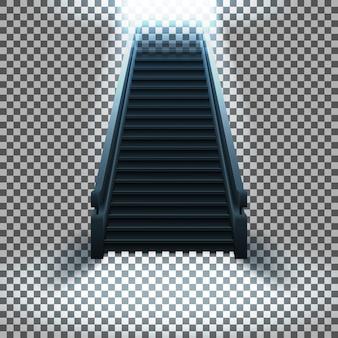 Una scala con gradini che portano alla luce su uno sfondo trasparente