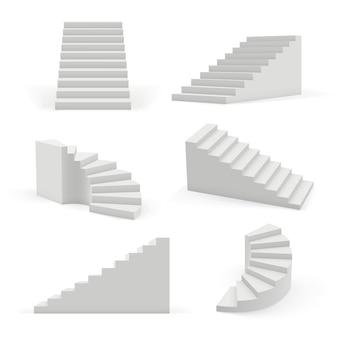 Scale moderne. 3d oggetti architettonici bianchi per lo spazio interno su e giù per i modelli vettoriali di gradini